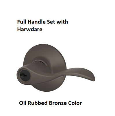 Schlage F51AACC613 Oil Rubbed Bronze Single Cylinder Keyed Entry Door Lever Set