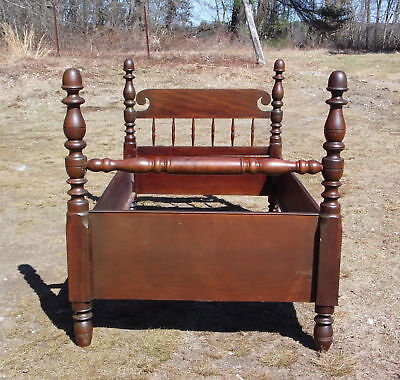 Antique Heavy Solid Mahogany Twin to 3/4? Poster Bed Frame American Early 1800's