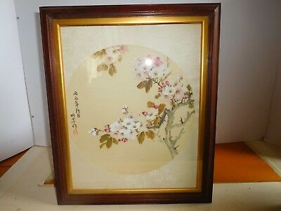 Antique Chinese painted circular silk panel Character marks  Republican period