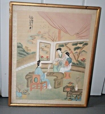 CHINESE PAINTING Geisha Women Landscape Vtg Watercolor Silk Antique Signed