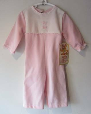 Vintage playsuit pink baby large doll age 18 months pink NWT's 60's baby grow