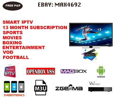 13 Month IPTV Subscription 8000 Channels in 2 minutes ALL UK CHANNELS+VOD MOVIES