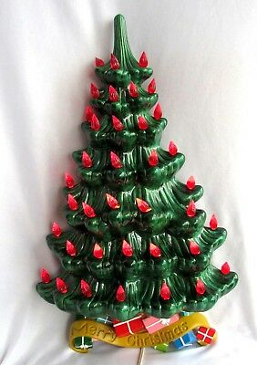 Vintage Flat Ceramic Wall Christmas Tree Atlantic Mold Lighted Red Gifts 21 Inch