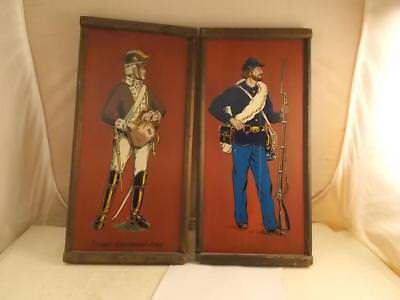 Pair Of Yorkraft Military Pictures Solid Wood Civil War Soldier & Another