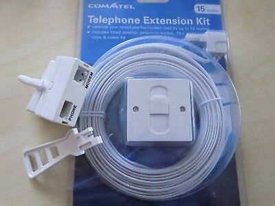 15m BT Telephone Master Socket/Box Line Extension Cable Kit - 10m,15m, 20m Lead