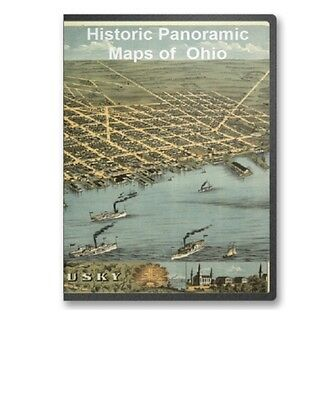 Ohio OH - 45 Vintage Panoramic City Maps Birds Eye Columbus Dayton Etc CD - B181