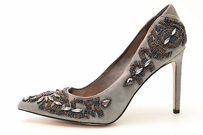 7cbbb1319c7491 SAM EDELMAN DANI Grey   Beads   Jewels Suede Pointy Toe Pumps Sz. 9 ...