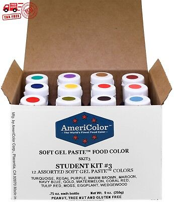 Food Coloring AmeriColor Student - Kit 3 12 .75 Ounce Bottles Soft Gel Paste Col