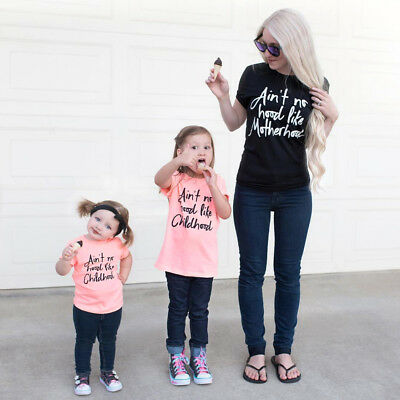 Boutique Women Kids Baby Girls Boys Cotton Tops T-shirt Casual Clothes Summer US