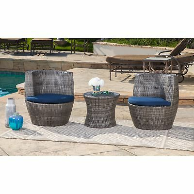Swell Abbyson Newport Outdoor Wicker Patio Set In Grey 3 Piece Caraccident5 Cool Chair Designs And Ideas Caraccident5Info