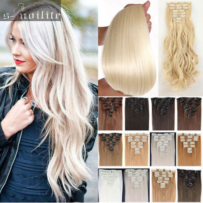 Long 8Pcs Clip in Remy Hair Extensions Wavy Straight Real natural for human HG08