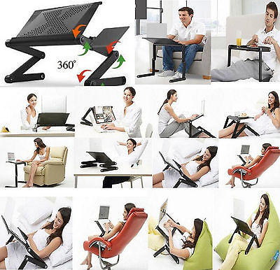 Laptop Lap Desk Foldable Table e-Table Bed 360° Ajustable Stand TV Tray Station