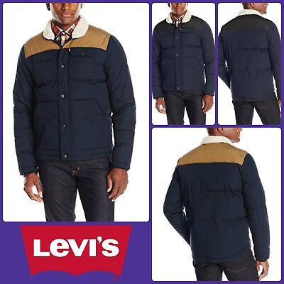 Levis Quilted Jacket Mixed Media Coat Mens Shirt Tail Puffer Small Medium Large