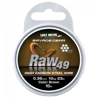 savage gear 50lb raw 49 high carbon wire uncoated brown ten metres 54894