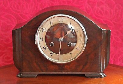 "Vintage Art Deco German ""Haller"" 8-Day Striking Mantel Clock"