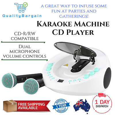 Karaoke Machine CD Player with LED Display 2 Microphones Party Disco Singing AUX