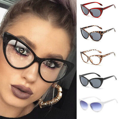 Vintage Women Sexy Clear Lens Cat Eye Glasses Frame UV Protect Sunglasses