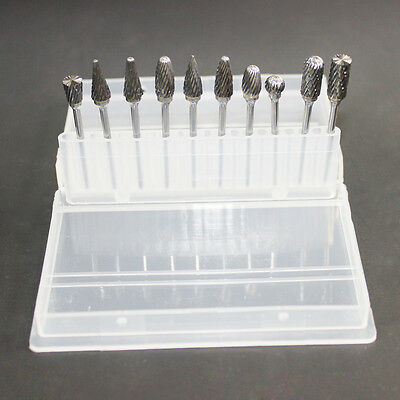 10*Mixed Polisher Tungsten Carbide Drill Burs 2.35mm for Dental Lab Handpiece