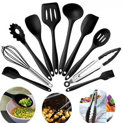 Colorful Non-toxic Silicone Kitchen 10 Piece Cooking Set Spatula, Spoon, Ladle