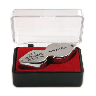 Pocket Jewellers Loupe Magnifying Eye Glass Jewelers Magnifier case 10/20X-18mm