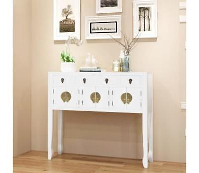 WHITE HALL Console Table Storage Drawers Wood Oriental Cupboard