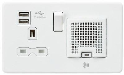 Screwless 13A socket, USB charger and Bluetooth Speaker combo - Matt white