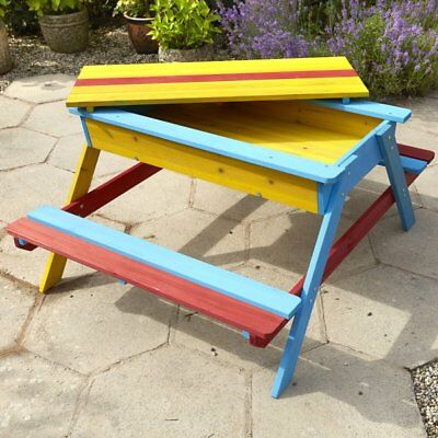 Sensational Childrens Wooden Sandpit And Multi Coloured Picnic Table Pabps2019 Chair Design Images Pabps2019Com