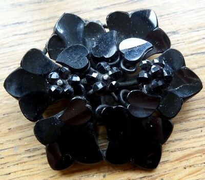 """antique victorian BIG 2.4"""" french jet black glass flower mourning brooch -A349"""