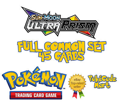 Pokemon Sun & Moon Ultra Prism - Complete 45 Common Pokemon Cards Set Pack fresh