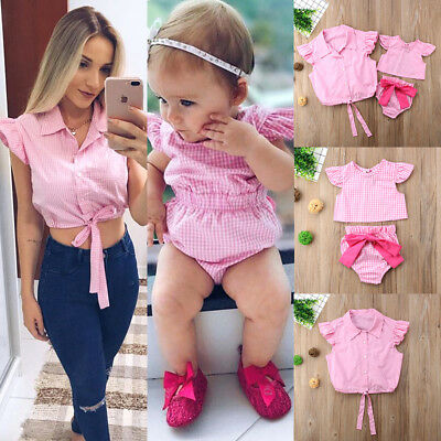 USA Mother&Baby Toddler Girls Romper Jumpsuit Women Tops Plaid Clothes Outfits