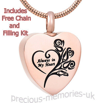 Rose Gold Cremation Ashes Necklace - Memorial Jewellery - Keepsake Urn Pendant