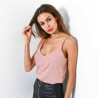Women V-neck Sexy Harness Vest T-shirt Summer Halter Pure Color Top Seleeveless