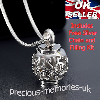 Silver Cremation Ashes Urn Necklace Funeral Memorial Jewellery Keepsake Pendant