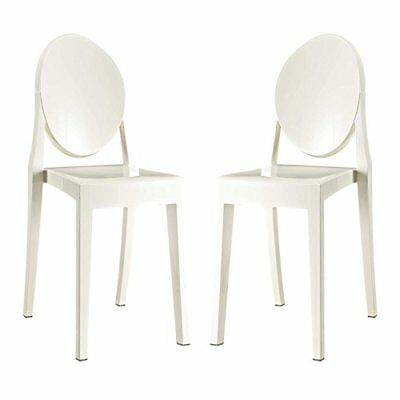 Modway Casper Modern Acrylic Dining Side Chairs In White Set Of 2
