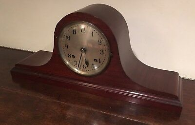 Art Deco Wooden Napoleon Hat Mantle Clock- Interwar- Running Order!