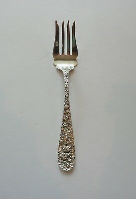 """Stieff ROSE Sterling Silver 8.5"""" Repousse Cold Meat Fork, Mono. """"N C L"""""""
