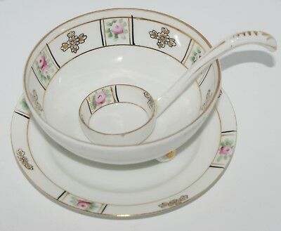 Vintage Nippon Three legged Bowl with plate and Ceramic Spoon Hand Painted