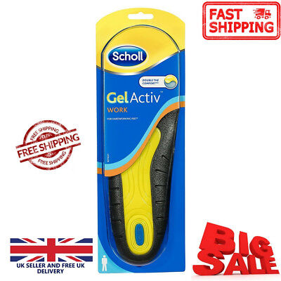 Scholl Gel Active Work Gelactive Insoles Men Size UK 7-12 Trim to Fit Cushioned