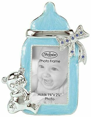 Baby Boy Bottle-Shaped Photo Frame Blue/Silver Lead-Free Pearlized Paint Finish