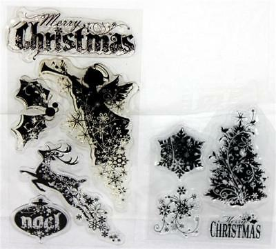 PSX Christmas Holiday Lot of 9 Clear Acrylic Unmounted Stamps Angel Tree Deer