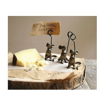 Cute Mice Table Place Setting - Card Holder 4inch tall Set of 3 Pieces Mouse