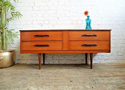 Vintage Retro Mid Century Teak Chest of 4 Drawers Small Sideboard Media Cabinet