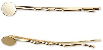 12 Gold Plated Brass Bobby Pin Hair Clips with 10mm Pad ~ 63mm Long