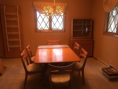 Heywood Wakefield Dining Room Set with Six Chairs and Hutch