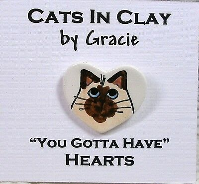 Siamese Himalayan Cat Face Heart Shaped Clay Pin Brooch Handmade Grace M. Smith