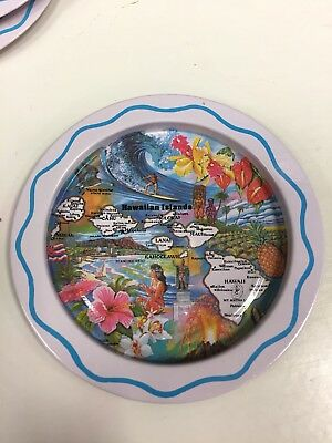Vintage Hawaiian Islands Bottle Coaster Set Of 6 Tiki Bar Island Beach