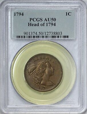 1794 Liberty Cap Head of 1794 Large Cent PCGS AU50