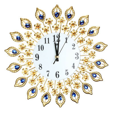 Luxury Large Peacock Diamond Wall Mounted Metal Clock Living Room Art Decor Home
