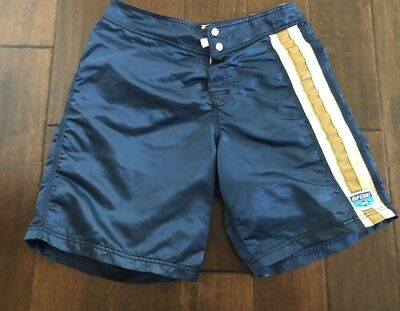 Vintage 70's Rip Curl Board Shorts Blue With White & Tan Sides & Back Pocket