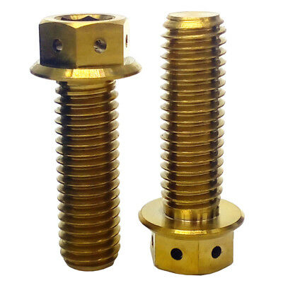 2Pcs M8x40 Gold Motorcycle Bike Hex Washer Head Style Bolts Titanium Alloy Screw